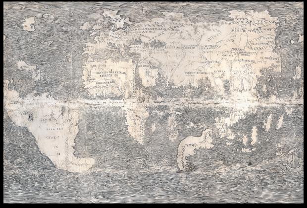 ダチョウの卵の地球儀 平面