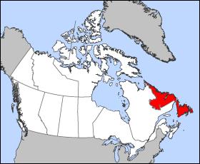 ニューファンドランドの地図