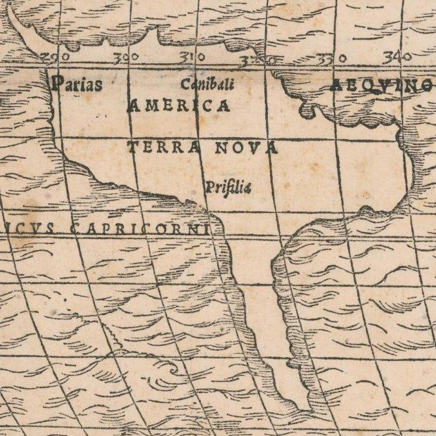 セバスティアン・ミュンスターの世界地図(1532年)のアメリカ部分